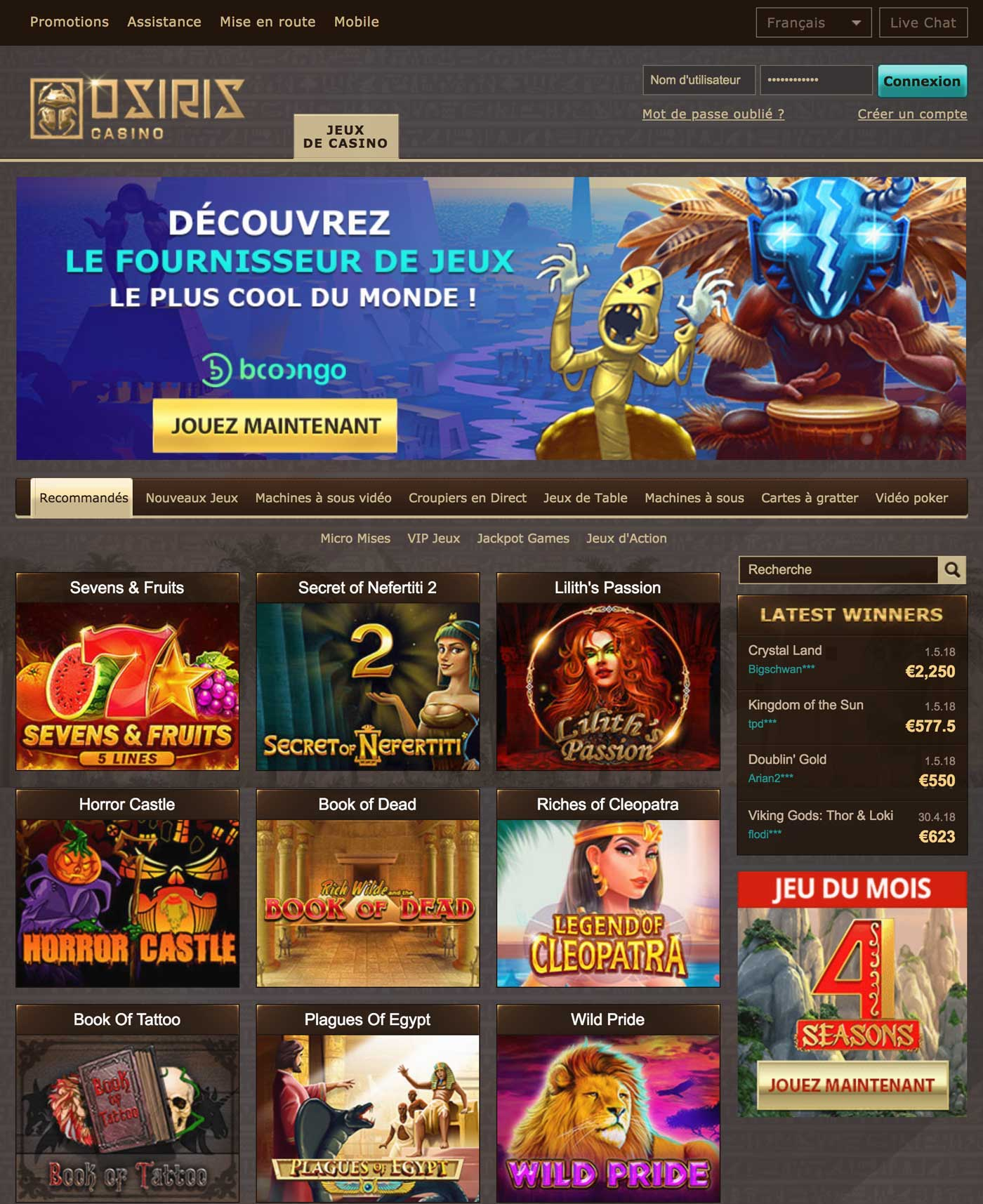 Osiris Casino officiel